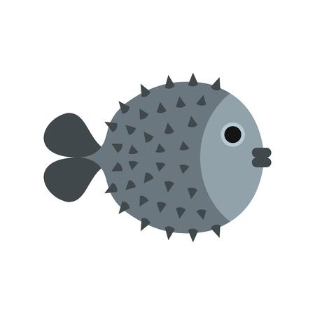 Fugu sharp fish icon, flat style Stock Photo