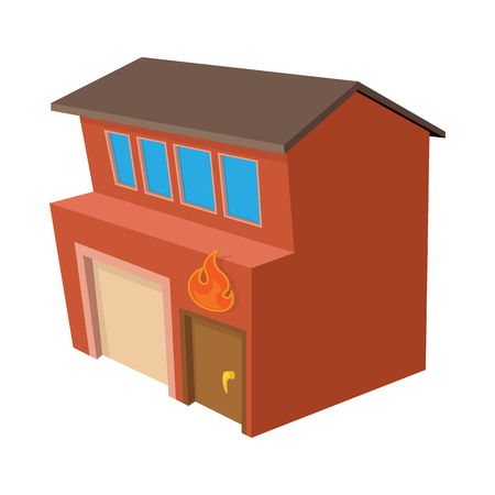 Fire station icon, cartoon style Stock Photo
