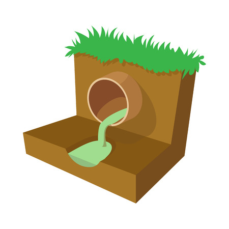 Dirty water flows from a pipe icon, cartoon style
