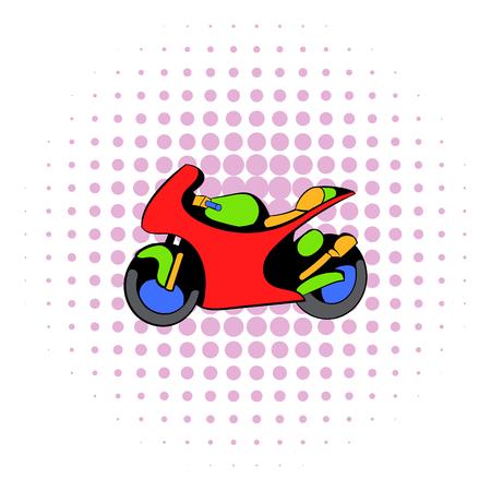 Motorcycle icon, comics style Stock Photo