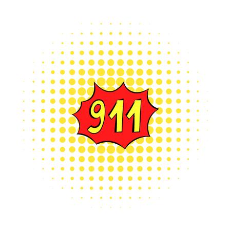 Emergency 911 icon, comics style