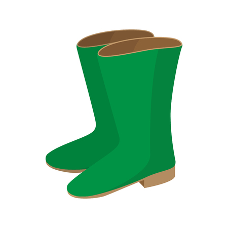 Rubber boots icon, cartoon style