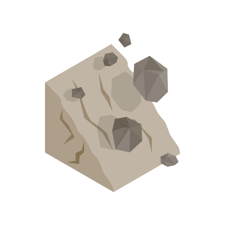 Rockfall icon, isometric 3d style