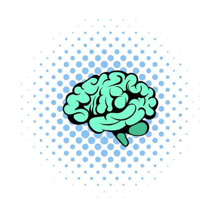Human brain icon, comics style Stock Photo