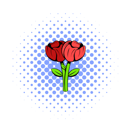 Bouquet of two flowers icon, comics style Imagens