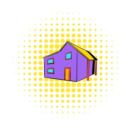 Two-storey house icon, comics style Stockfoto - 107750391