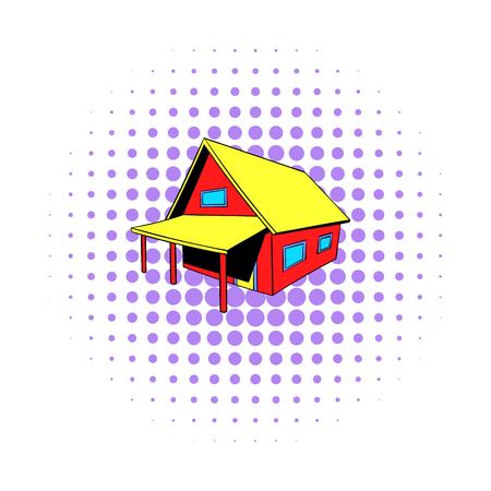 Small cottage icon, comics style Stockfoto
