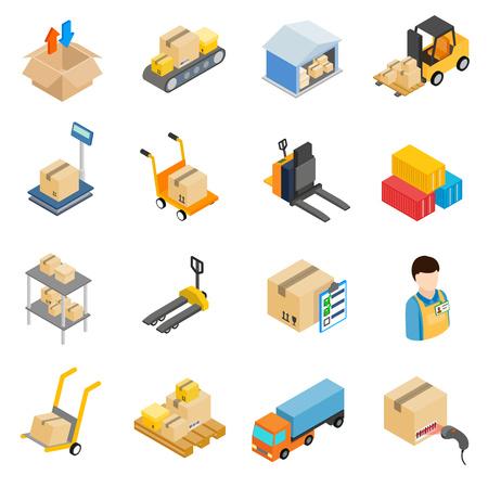 Warehouse logistic storage icons set