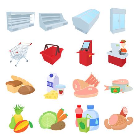 Supermarket icons set, cartoon style