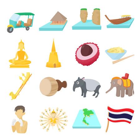 Thailand icons set, cartoon style