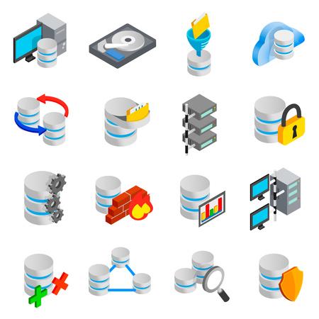 Database icons set Stock Photo