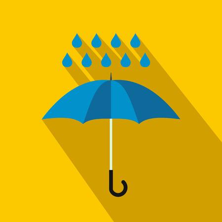 Blue umbrella and rain drops icon, flat style Stockfoto