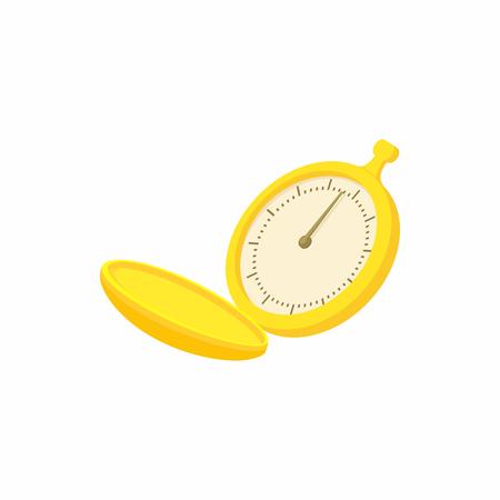 Golden pocket watch icon, cartoon style Stock Photo