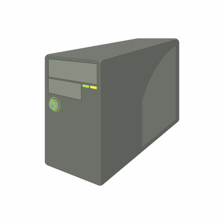 Black computer system unit icon, cartoon style