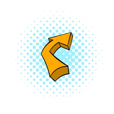 Broken yellow arrow icon, comics style