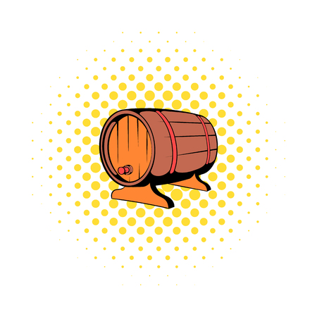 Wooden barrel of beer with a tap icon comics style