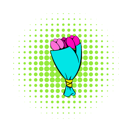 Bouquet of tulips icon, comics style