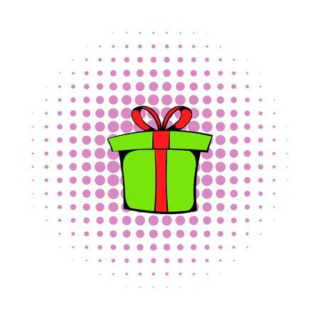 Green gift box icon, comics style