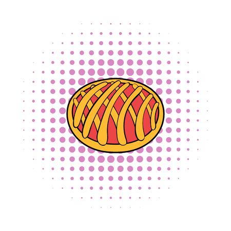 Cherry pie icon, comics style