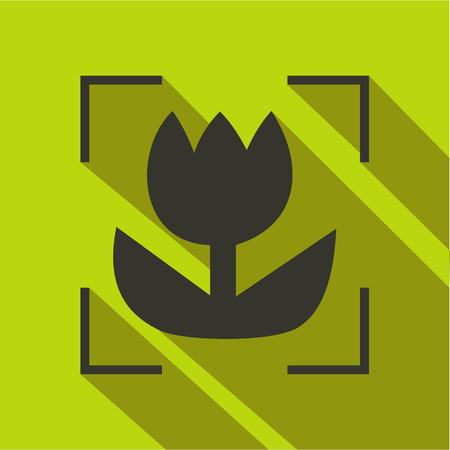 Macro lens mode icon, flat style