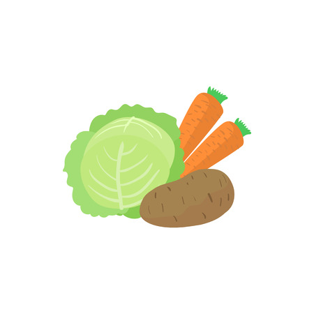 Assortment of vegetable icon, cartoon style