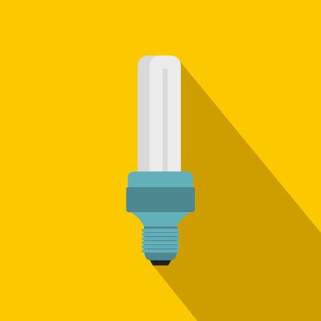 Tubular bulb icon, flat style