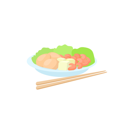 Traditional vietnamese food with chopsticks icon