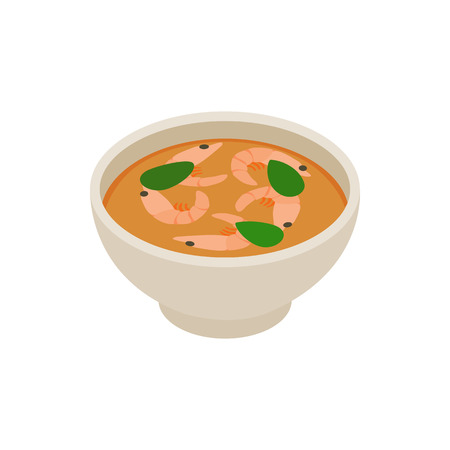 Tom yum soup icon, isometric 3d style Stock Photo - 107754509