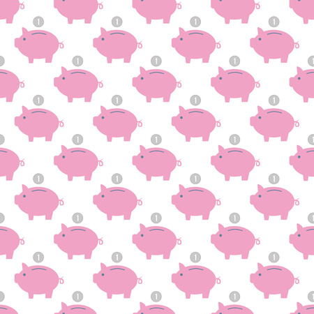Piggy bank pattern seamless Stock Photo