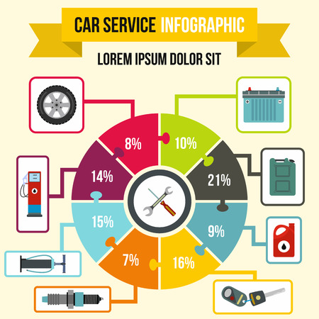 Car service Infographic in flat style for any design 스톡 콘텐츠