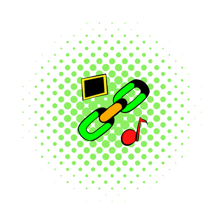 Chain link icon, comics style