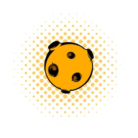 Moon icon, comics style Stok Fotoğraf