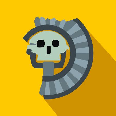 Skull the god of death of Aztecs icon, flat style