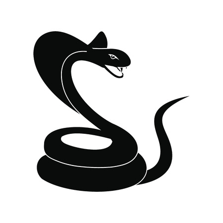 Green snake icon, simple style