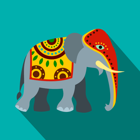 Decorated elephant icon, flat style