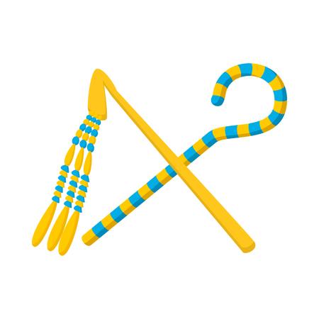 Rod and whip of Pharaoh icon, cartoon style