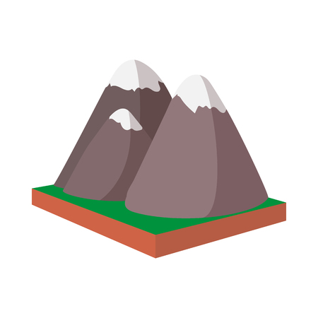 Rocky Mountains, Canada icon, cartoon style