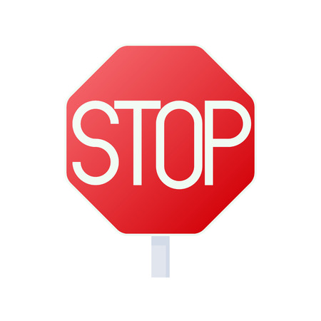 Stop sign icon in cartoon style on a white background