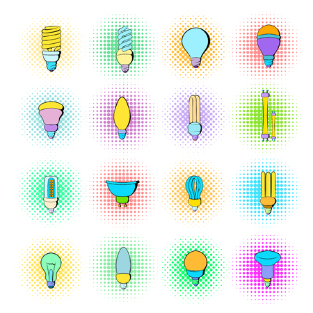 Light bulb icons set in pop-art style isolated on white