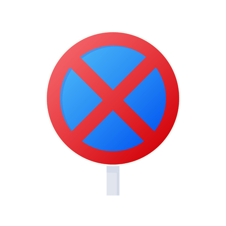 Clearway sign icon, cartoon style