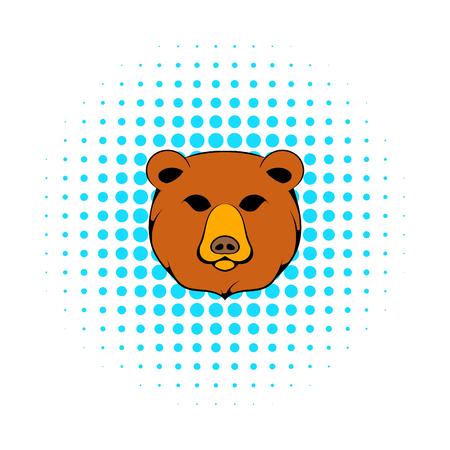 Head of bear icon, comics style