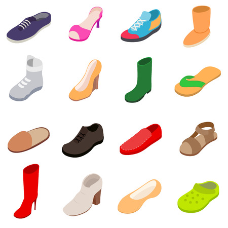 Shoes icons set, isometric 3d style Banco de Imagens