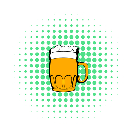 Mug of beer icon, comics style Stock Photo