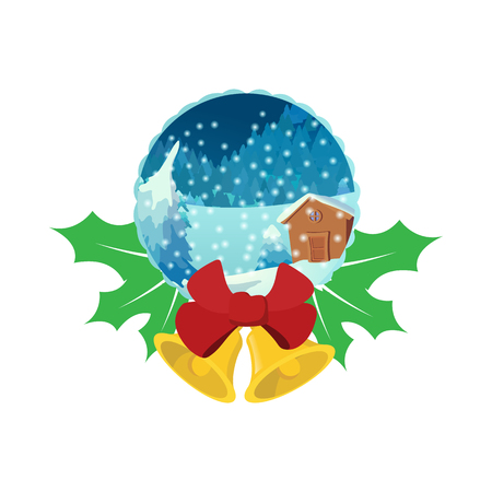 Merry Christmas glass snow ball icon Banque d'images - 107810568