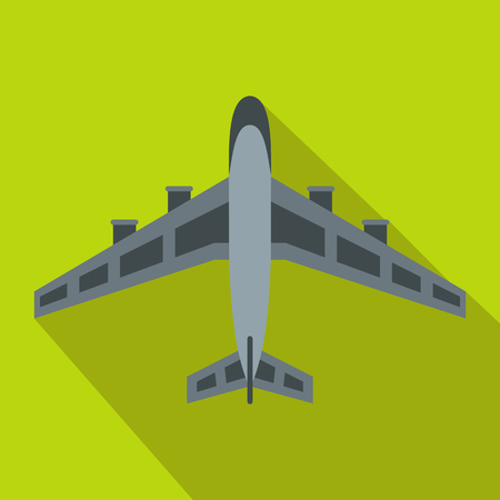 Military fighter jet icon, flat style Stock Photo