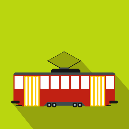 Red tram icon, flat style Stock Photo