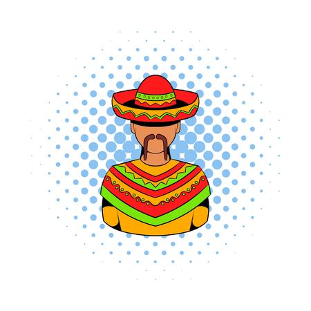 Mexican man icon, comics style