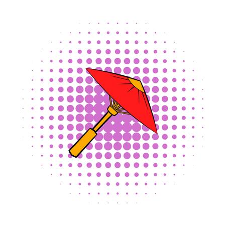 Asian red parasol or umbrella icon, comics style