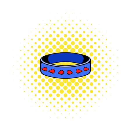 Leather fetish collar icon, comics style