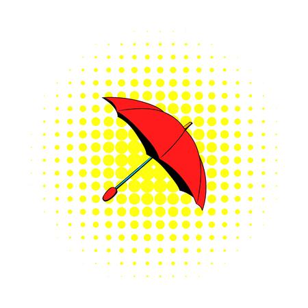 Red umbrella icon, comics style